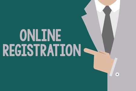 Conceptual hand writing showing Online Registration. Business photo text Process to Subscribe to Join an event club via Internet. Stock Photo