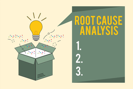 Word writing text Root Cause Analysis. Business concept for Method of Problem Solving Identify Fault or Problem. Banco de Imagens