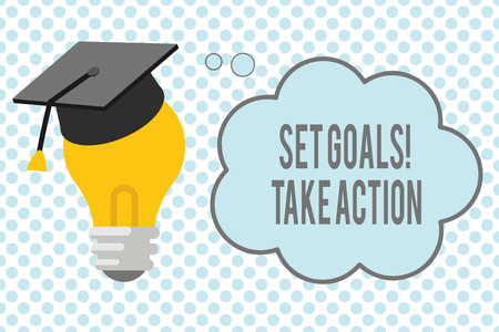 Conceptual hand writing showing Set Goals Take Action. Business photo showcasing Act on a specific and clearly laid out plans. Standard-Bild