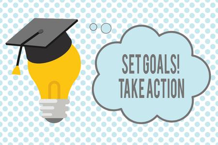 Conceptueel handschrift met gestelde doelen actie ondernemen. Zakelijke foto presentatie van de wet op een specifieke en duidelijk opgemaakte plannen. Stockfoto