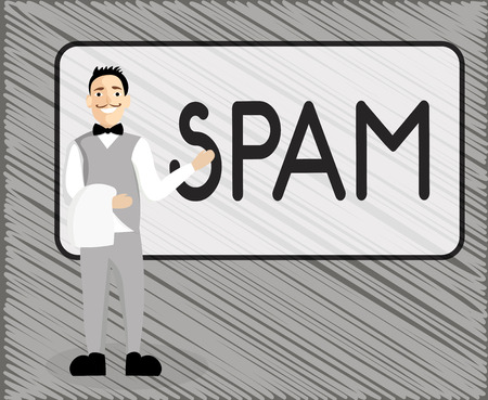 Text sign showing Spam. Conceptual photo Intrusive advertising Inappropriate messages sent on the Internet.