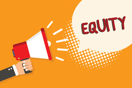 Writing note showing Equity. Business photo showcasing quality of being fair and impartial race free One hand Unity Man holding megaphone loudspeaker bubble orange background halftone