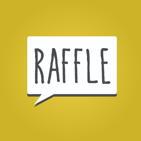 Handwriting text writing Raffle. Concept meaning means of raising money by selling numbered tickets offer as prize. Foto de archivo - 111718413