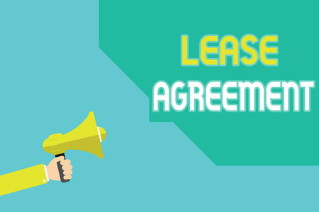 Writing note showing Lease Agreement. Business photo showcasing Contract on the terms to one party agrees rent property.