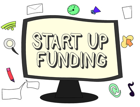 Conceptual hand writing showing Start Up Funding. Business photo showcasing begin to invest money in newly created company or campaign.