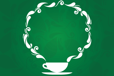 Design business concept Empty copy space modern abstract background. Cup and Saucer with Paisley Design as Steam icon on Blank Watermarked Space