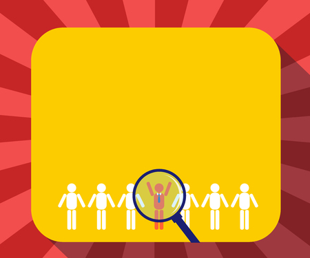 Design business concept Empty copy space modern abstract background. Magnifying Glass Over Chosen Man Figure Among the Hu analysis Dummies Line Up
