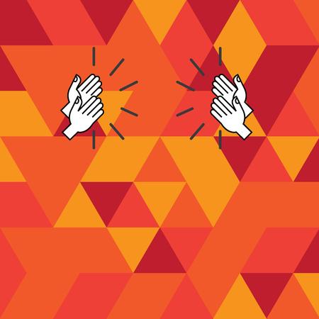 Design-Business-Konzept Leere Vorlage kopieren Raumtext für die Ad-Website isoliert. Zeichnung der Hu-Analyse Hände klatschen mit Sound-Symbol auf geometrischem Mosaik-Effekt