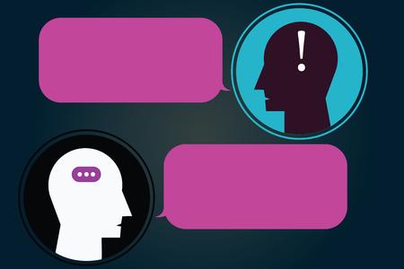Concept d'entreprise de conception Texte de l'espace de copie de modèle vide pour le site Web d'annonce isolé. Messenger Room avec Chat Heads Speech Bubbles Ponctuations Mark icon