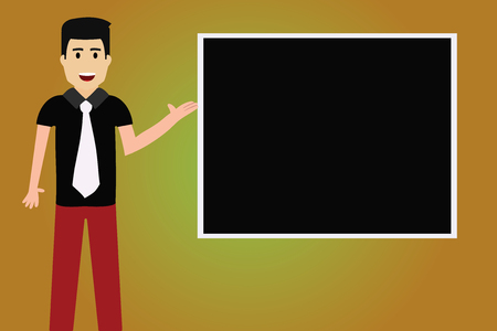 Design business concept Empty copy space modern abstract background. Man with Tie Standing Talking Presenting Blank Color Square Board Vector