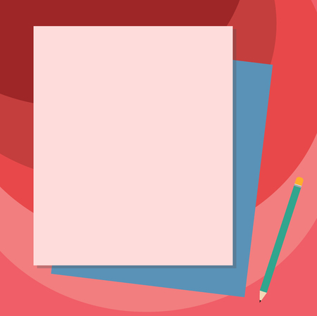 Design business concept Business ad for website promotion banners empty social media ad. Stack of Blank Different Pastel Color Construction Bond Paper and Pencil