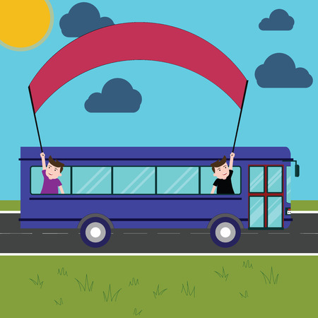 Design business concept Business ad for website promotion banners empty social media ad. Two Kids Inside School Bus Holding Out Banner with Stick on a Day Trip