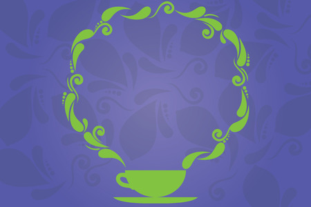 Business Empty template for Layout for invitation greeting card promotion poster voucher. Cup and Saucer with Paisley Design as Steam icon on Blank Watermarked Space
