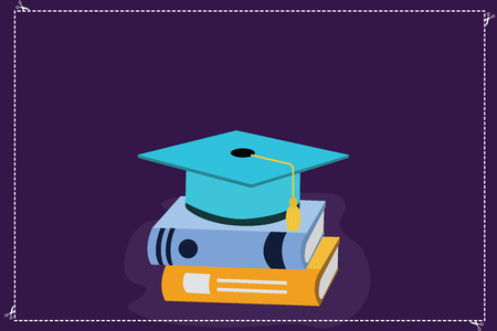 Design business concept Empty copy text for Web banners promotional material mock up template. Color Graduation Hat with Tassel 3D Academic cap Vector Resting on Books