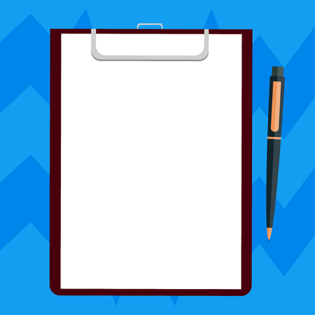 Business Empty template for Layout for invitation greeting card promotion poster voucher. Blank Sheet of Bond Paper on Clipboard with Click Ballpoint Pen Text Space