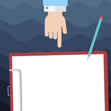 Design business concept Empty copy space modern abstract background. Hu analysis Hand Pointing Down to Clipboard with Blank Bond Paper and Pencil