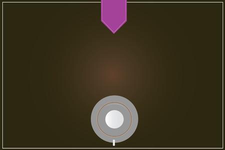 Entreprise de conception Modèle vide isolé Modèle de mise en page graphique minimaliste pour la publicité. Tasse à café soucoupe vue de dessus Vector réflexion sur le planificateur de couleur blanc Snap Vecteurs
