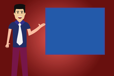 Design business concept Empty template copy space text for Ad website isolated. Man with Tie Standing Talking Presenting Blank Color Square Board Vector