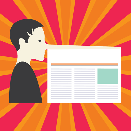 Design business concept Empty copy space modern abstract background. Man with a Very Long Nose like Pinocchio a Blank Newspaper is attached