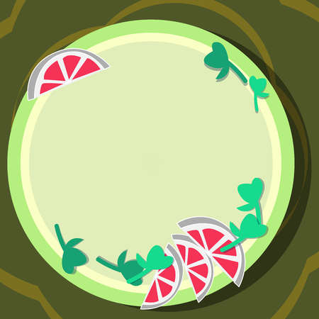 Design business concept Empty template copy space text for Ad website isolated. Cutouts of Sliced Lime Wedge and Herb Leaves on Blank Round Color Plate