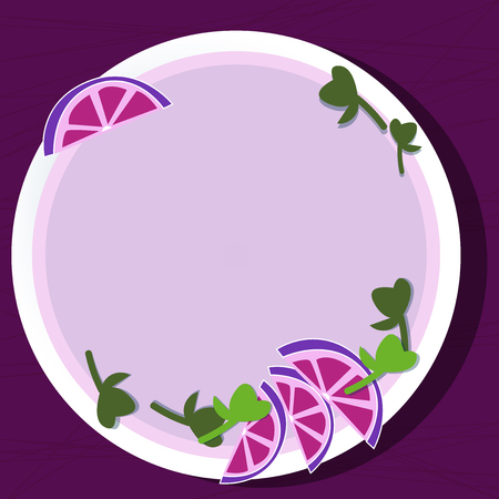 Design business Empty template isolated Minimalist graphic layout template for advertising . Cutouts of Sliced Lime Wedge and Herb Leaves on Blank Round Color Plate Illustration