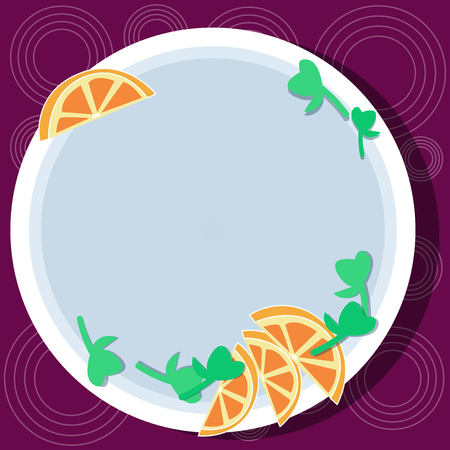 Design business concept Empty copy space modern abstract background. Cutouts of Sliced Lime Wedge and Herb Leaves on Blank Round Color Plate
