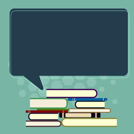 Entreprise de conception Texte de l'espace de copie vide pour la promotion du site Web publicitaire Modèle de bannière isolé. Pile inégale de livres cartonnés et bulle de dialogue couleur rectangulaire vierge Vecteurs