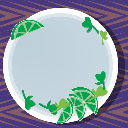 Business concept Empty template copy space isolated Posters coupons promotional material. Cutouts of Sliced Lime Wedge and Herb Leaves on Blank Round Color Plate