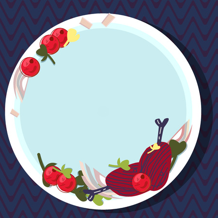 Design business concept Empty copy space modern abstract background. Hand Drawn Lamb Chops Herb Spice Cherry Tomatoes on Blank Color Plate