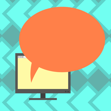 Design business concept Business ad for website promotion banners empty social media ad. Mounted Computer Monitor Blank Screen with Oval Color Speech Bubble