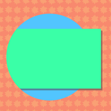 Business concept Empty template copy space isolated Posters coupons promotional material. Blank Rectangular Color Shape with Shadow Coming Out from a Circle Vector