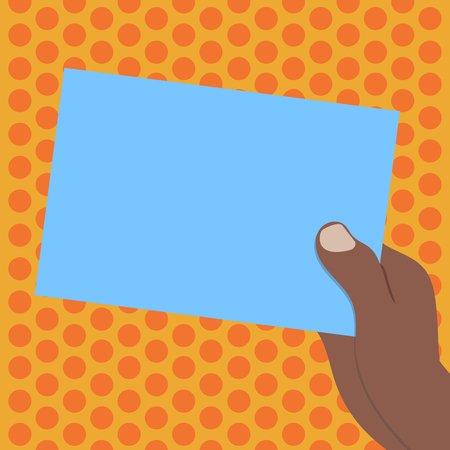 Design business concept Empty copy space modern abstract background. Drawn Hu analysis Hand Holding Presenting Blank Color Paper Cardboard Vector Vectores