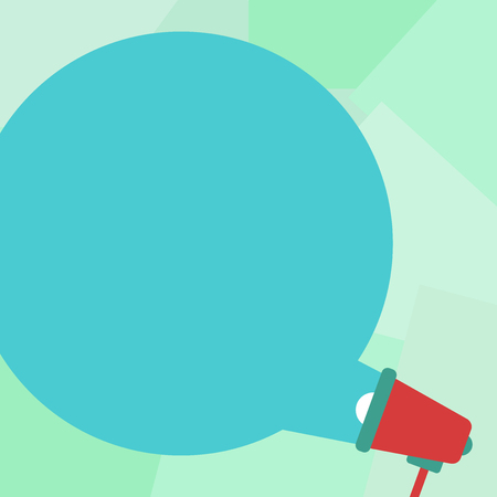Design business concept Empty copy space modern abstract background. Blank Round Color Speech Bubble Coming Out of Megaphone for Announcement