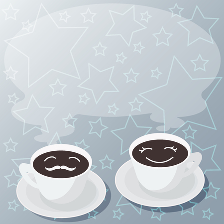 Design business concept Empty copy space modern abstract background. Sets of Cup Saucer for His and Hers Coffee Face icon with Blank Steam