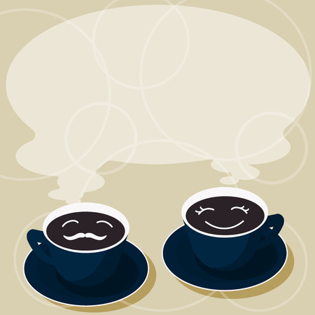 Business Empty template for Layout for invitation greeting card promotion poster voucher. Sets of Cup Saucer for His and Hers Coffee Face icon with Blank Steam
