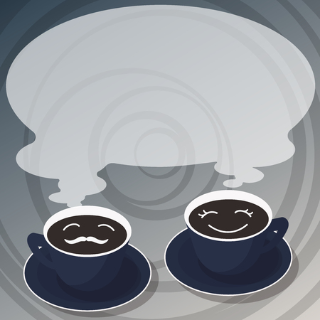 Design business Empty template isolated Minimalist graphic layout template for advertising . Sets of Cup Saucer for His and Hers Coffee Face icon with Blank Steam