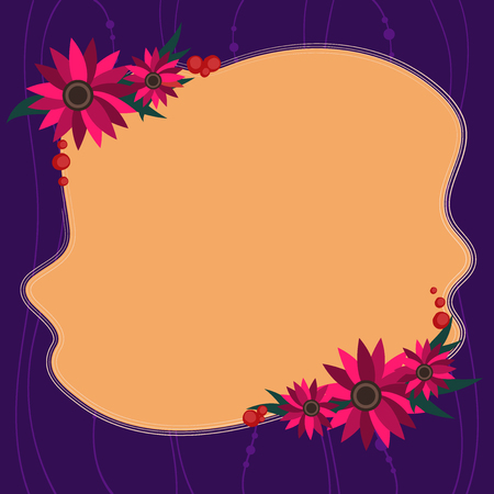 Design business concept Empty template copy space text for Ad website isolated. Blank Uneven Color Shape with Flowers Border for Cards Invitation Ads