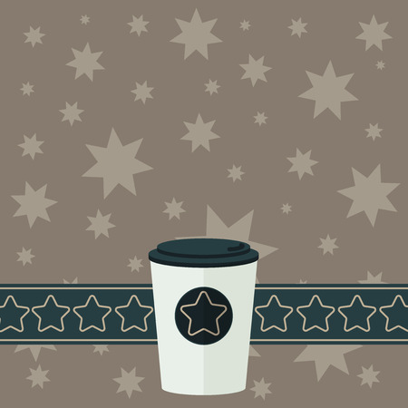 Business Empty template for Layout for invitation greeting card promotion poster voucher. 3D Coffee To Go Cup with Lid Cover and Stars on Strip Blank Text Space