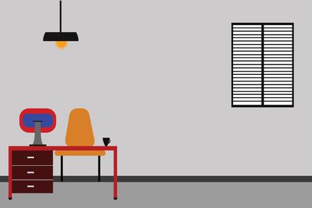 Concetto di affari di progettazione Fondo astratto moderno dello spazio vuoto della copia. Spazio di lavoro Interni minimalisti Computer e area studio all'interno di una stanza Vector