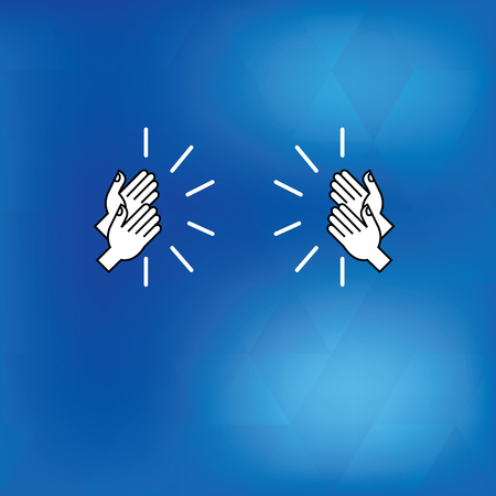 Design business concept Empty copy space modern abstract background. Drawing of Hu analysis Hands Clapping Applauding Sound icon on Blue Background Illustration