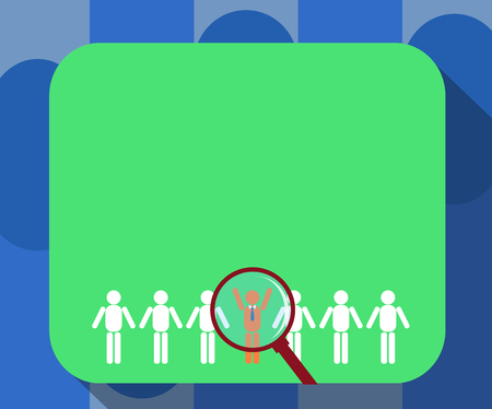 Design business Empty template isolated Minimalist graphic layout template for advertising . Magnifying Glass Over Chosen Man Figure Among the Hu analysis Dummies Line Up