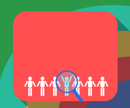 Business Empty template for Layout for invitation greeting card promotion poster voucher. Magnifying Glass Over Chosen Man Figure Among the Hu analysis Dummies Line Up