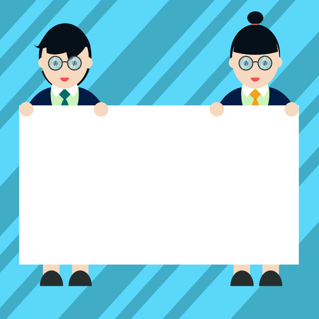 Design business Empty copy space text for Ad website promotion isolated Banner template. Male and Female in Uniform Standing Holding Blank Placard Banner Text Space Vettoriali
