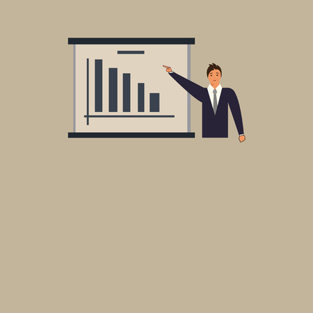 Design business concept Business ad for website promotion banners empty social media ad. Man in Business Suit Standing Pointing a Board with Bar Chart Copy Space Vectores
