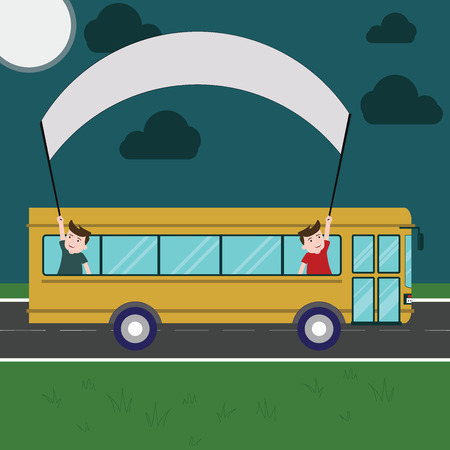 Business concept Empty template copy space isolated Posters coupons promotional material. Two Kids Inside School Bus Holding Out Banner with Stick on a Day Trip