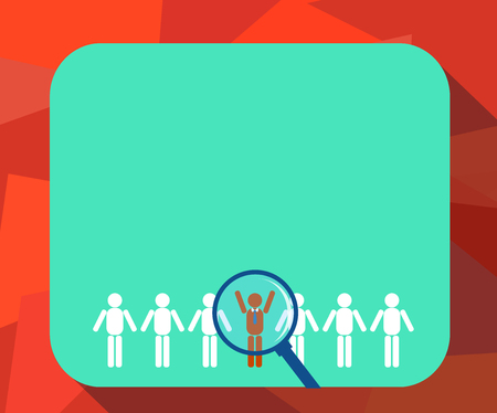 Design business concept Empty template copy space text for Ad website isolated. Magnifying Glass Over Chosen Man Figure Among the Hu analysis Dummies Line Up