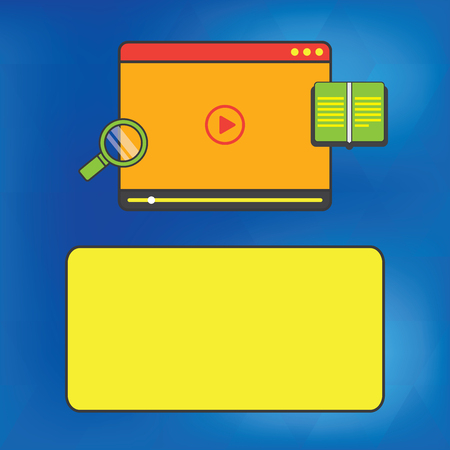 Design business concept Empty copy space modern abstract background. Tablet Video Player Uploading Downloading and Magnifying Glass Text Space Illustration