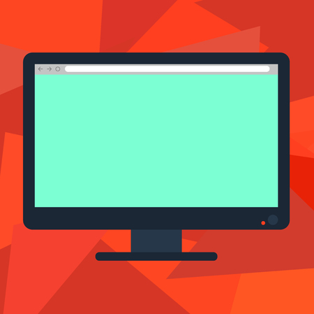 Design business concept Empty template copy space text for Ad website isolated. Blank Computer Desktop Monitor Color Screen Mounted with Progress Bar
