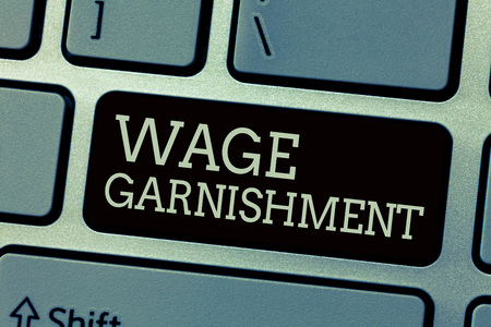 Conceptual hand writing showing Wage Garnishment. Business photo text Deducting money from compensation ordered by the court.