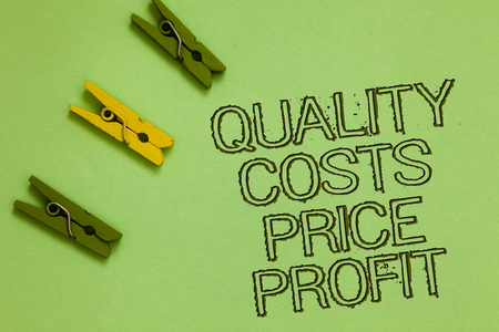 Word writing text Quality Costs Price Profit. Business concept for Balance between wothiness earnings value Outline words green middle yellow paper clip on olive color ground